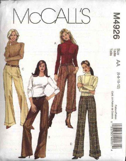 McCall's Sewing Pattern 4926 Misses Size 6-12 Straight Leg Hem Cuffs Pants Slacks Trousers