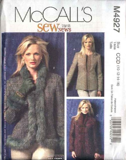 McCall's Sewing Pattern 4927 Misses Size 6-12 Sew News Lined Princess Seam Fitted Jackets
