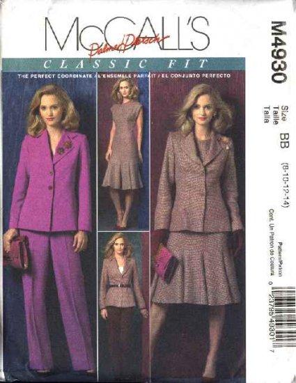 McCall's Sewing Pattern 4930 Misses Size 8-14 Palmer/Pletsch Jacket Dress Pants Suit Pantsuit