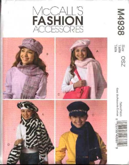 McCall's Sewing Pattern 4938 Childrens Girls Hats Scarves Tote Bag Phone Case