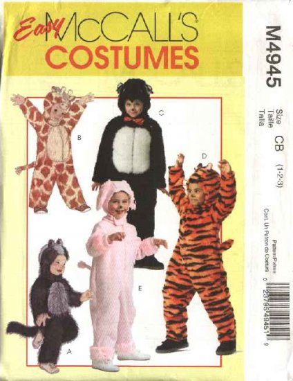 McCall's Sewing Pattern 4945 Boys Girls Size 1-3 Easy Zipper Front Jumpsuit Costumes Tiger Panda Cat