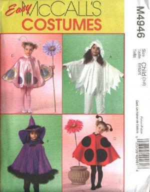 McCall's Sewing Pattern 4946 M4946 Girls Size 3-8 Easy Costumes Ladybug Witch Butterfly Flower