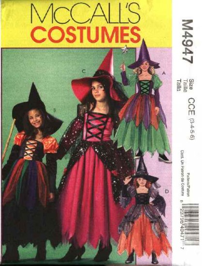 McCall's Sewing Pattern 4947 Girls Size 10-14 Halloween Costume Witch Princess Dress Hat