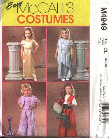 McCall's Sewing Pattern 4949 Girls Size 6-8 Easy Halloween Costumes Gypsy Genie Greek Toga