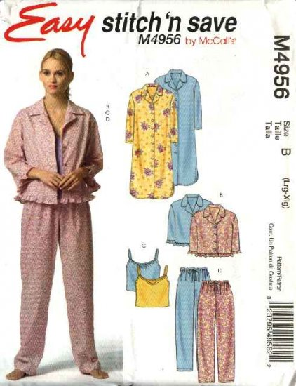 McCall's Sewing Pattern 4956 Misses Size 16-22 Easy Nightgown Pajamas Camisole Top Pants