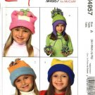 "McCall's Sewing Pattern 4957 Girls Boys Head Size 20 3/4"" - 23""  Easy  Fleece Hats PomPoms"