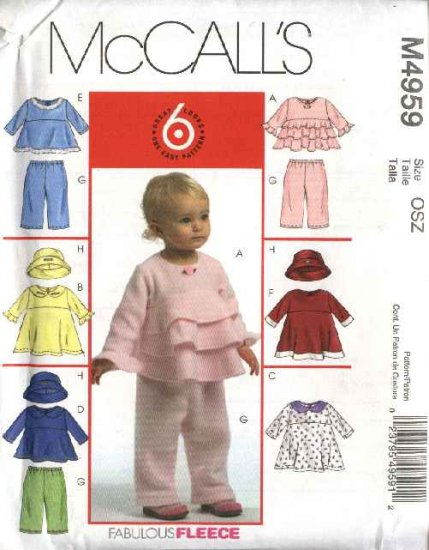 McCall�s Sewing Pattern 4959 Infants Girls Newborn - Large Wardrobe Tops Dresses Pants Hat