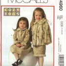 McCall's Sewing Pattern 4960 M4960 Toddler Girls Size 1-4 Button Front Faux Fur Jacket Dress Skirt