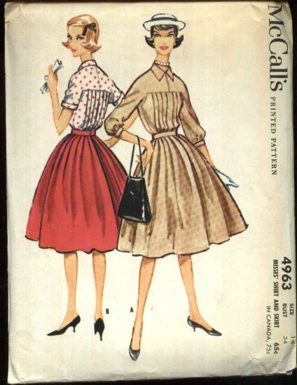 Vintage 1959 McCall's Sewing Pattern 4963 Misses Size 14 Bust 34 Two-Piece Dress Shirt Skirt