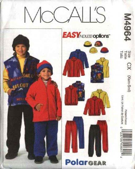 McCall's Sewing Pattern 4964 Boys Size 3-6 Easy Fleece Wardrobe Jacket Vest Pants Hat