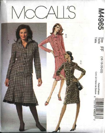 McCall's Sewing Pattern 4965 Misses Size 16-22 Button Front Lined Jackets Straight Flared Skirts
