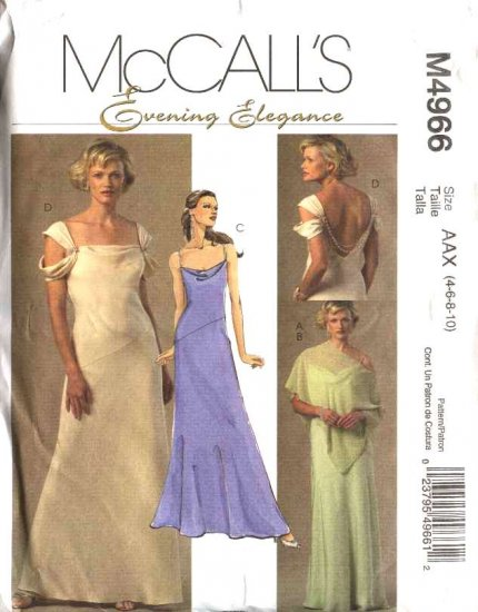 McCall's Sewing Pattern 4966 Misses Size 4-10 Evening Gown Prom Formal Lined Dress Poncho