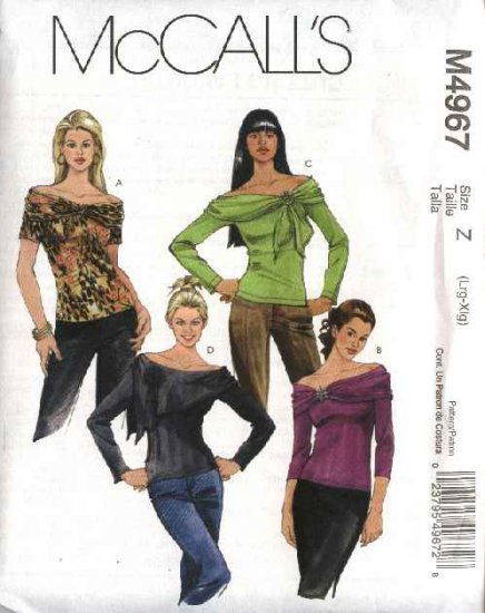 McCall's Sewing Pattern 4967 Misses Size 4-14 Knit Pullover Tops Neckline Sleeve Variations