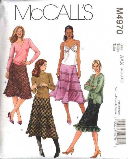 McCall's Sewing Pattern 4970 Misses Size 4-10 A-Line Tiered Ruffled Hemline Bias Skirts