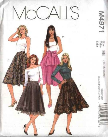 McCall's Sewing Pattern 4971 Misses Size 6-12 A-Line Flared Lined Skirts Sash