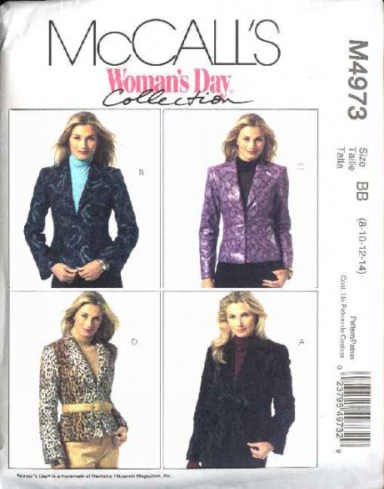 McCall's Sewing Pattern 4973 Misses Size 8-14 Woman's Day Lined Long Sleeved Jackets