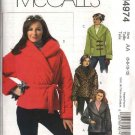 McCall's Sewing Pattern 4974 Misses Size 14-20 Lined Fleece Double Breasted Jackets