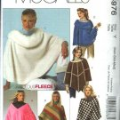 McCall's Sewing Pattern 4976 Misses Size 16-22 Fleece Ponchos Neckline Shape Variations Wraps