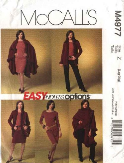 McCall's Sewing Pattern 4977 Misses Size 4-14 Easy Knit  Wardrobe Cape Jacket Skirt Pants Top