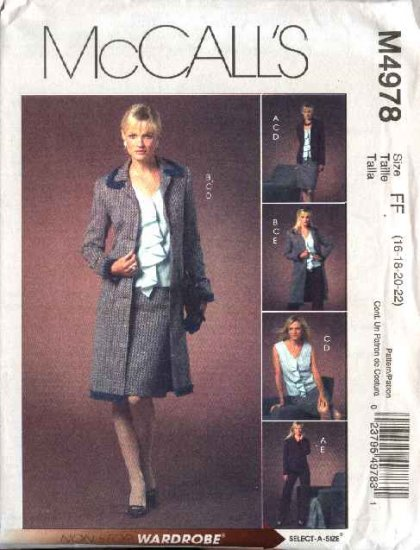 McCall's Sewing Pattern 4978 Misses Size 8-14 Wardrobe Lined Jacket Top Skirt Pants Coat Duster