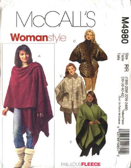 McCall's Sewing Pattern 4980 Womans Plus Size 18W-24W Capes Poncho Ruanas Wraps
