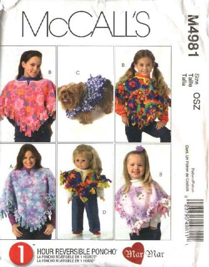 """McCall�s Sewing Pattern 4981 Fringed Reversible Fleece Ponchos for Misses Girls 18"""" Doll Dogs"""
