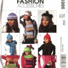 McCall's Sewing Pattern 4986 Misses Fleece Fashion Accessories Hats Mittens Scarves Handbags