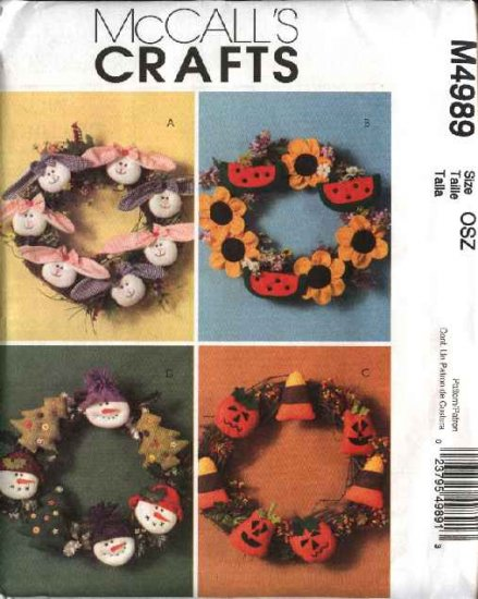McCall�s Sewing Pattern 4989 Easter Summer Christmas Halloween Holiday Wreaths