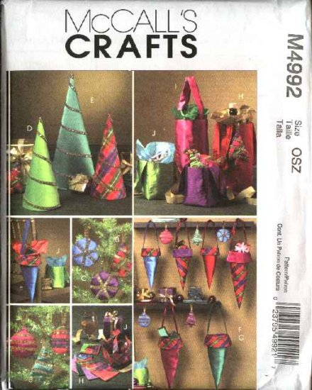 McCall�s Sewing Pattern 4992 Christmas Gifts Ornaments Gift Cones Bags Decorations
