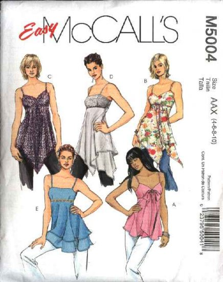 McCall's Sewing Pattern 5004 Misses Size 4-10 Easy Empire Waist Lined Tops Tunics