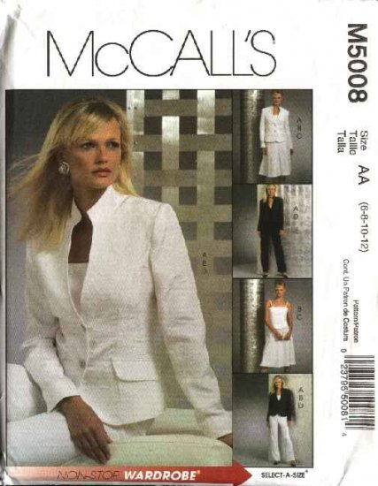 McCall's Sewing Pattern 5008 M5008 Misses Size 6-12 Wardrobe Lined Jacket Skirt Pants Top Suit