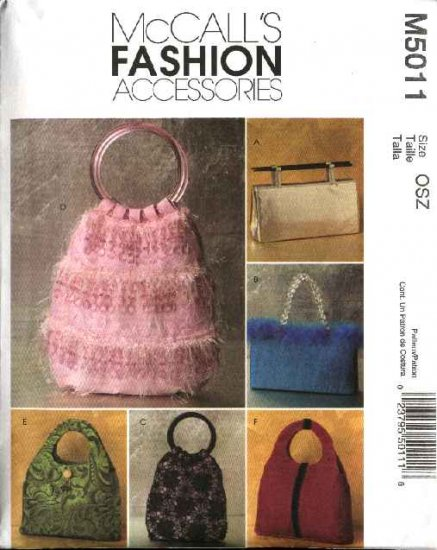 McCall�s Sewing Pattern 5011 Fashion Accessories Lined Handbags Purses Bags Pocketbooks