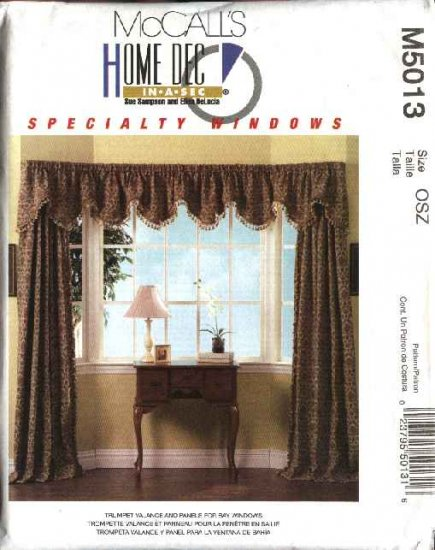 McCall's Sewing Pattern 5013 Trumpet Valance Curtain Panels for Bay Windows Treatments