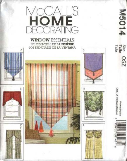 McCall's Sewing Pattern 5014 Window Treatments Shades Panels Curtains Valances