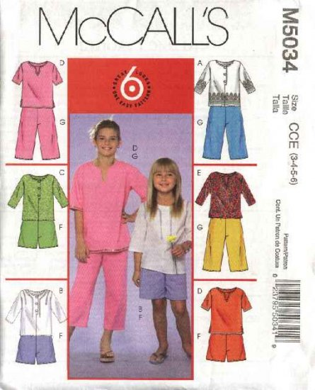 McCall's Sewing Pattern 5034 Girls Size 3-6 Easy Tunic Tops Kurta Shorts Cropped Capri Pants