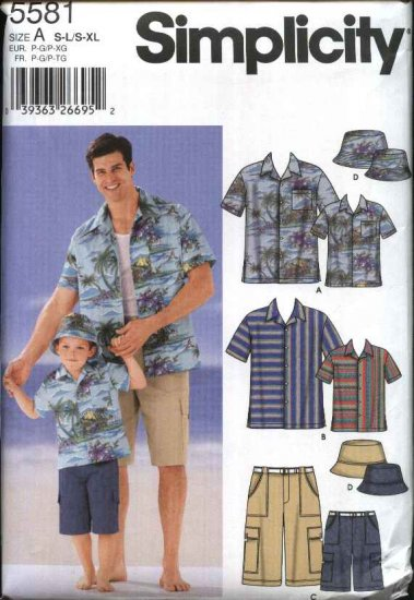 Simplicity Sewing Pattern 5581 Boys Mens Size S-L/S-XL Button Front Shirts Shorts Hats