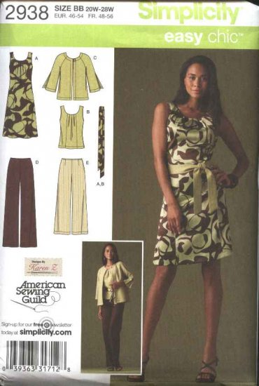 Simplicity Sewing Pattern 2938 Womens Plus Size 20W-28W Easy Wardrobe Dress Top Jacket Pants