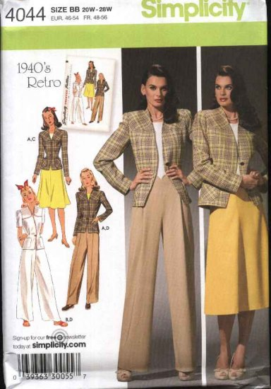 "Simplicity Sewing Pattern 4044 Womans Plus Sizes 20W-28W 1940""s Retro Lined Jacket Pants Skirt"