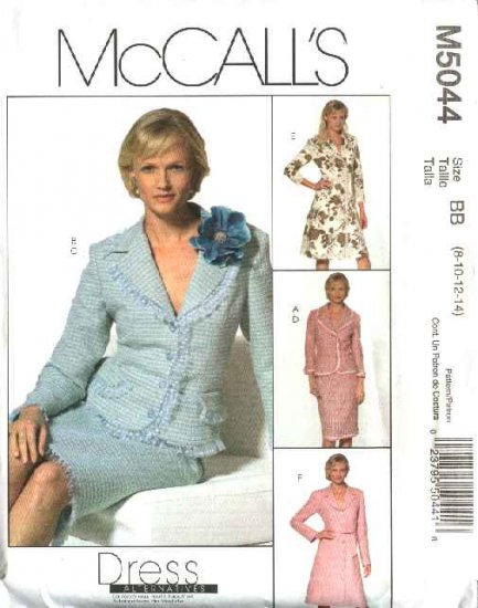 McCall's Sewing Pattern 5044 Misses Size 8-14 Lined Button Front Jacket Straight Skirt Dress