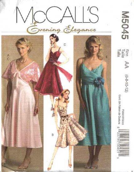 McCall's Sewing Pattern 5045 Misses Size 6-12 Formal Evening Prom Bolero Shrug Sleeveless Dress
