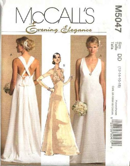 McCall's Sewing Pattern 5047 M5047 Misses Size 12-18 Wedding Dress Bridal Gown Formal Evening Prom