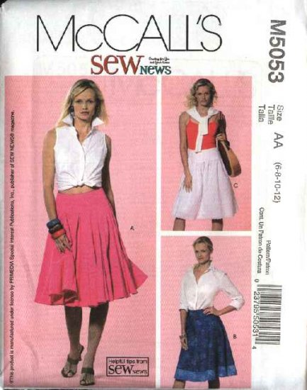 McCall's Sewing Pattern 5053 Misses Size 6-12 SewNews Flared Gathered Yoke Skirts