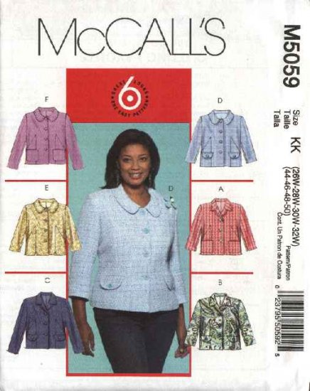 McCall's Sewing Pattern 5059 Womans Plus Size 26W-32W Easy Lined Button Front Jacket