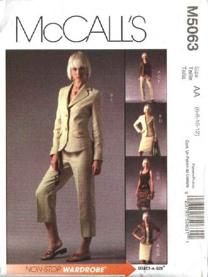 McCall's Sewing Pattern 5063 Misses Size 6-12 Wardrobe Lined Jacket Top Skirt Cropped Long Pants