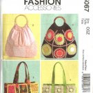 McCall's Sewing Pattern 5067 Four Lined Embellished Handbags Totebags Purse Bag