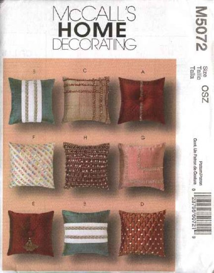McCall's Sewing Pattern 5072 Eight 18' Decorative Embellished Pillows Cushions