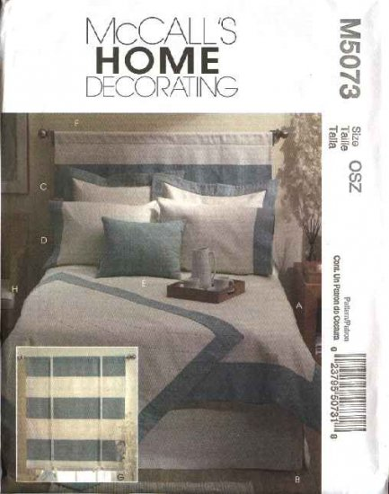 McCall's Sewing Pattern 5073 Bedroom Essentials Duvet Cover Bedskirt Pillow Sham Headboard Shade