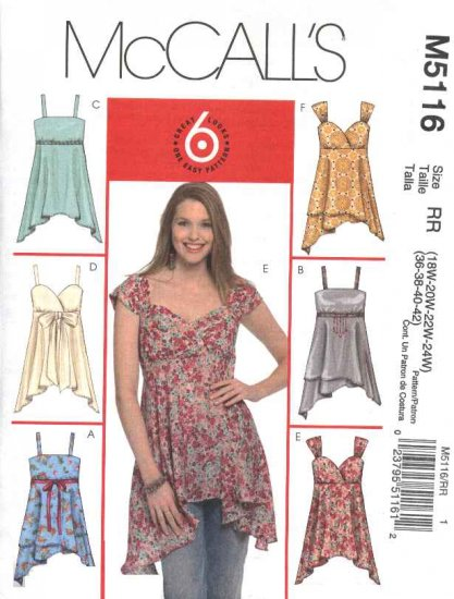 McCall�s Sewing Pattern 5116 Womans Plus Size 18W-24W Easy Loose Summer Sun Raised Waist Tops