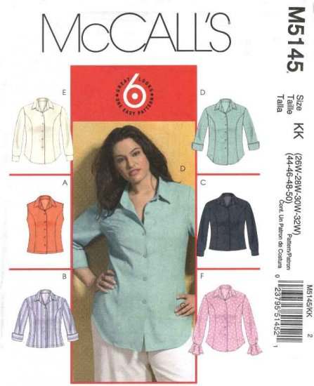 McCall's Sewing Pattern 5145 Womans Plus Size 18W-24W Easy Button Front Princess Seam Shirt