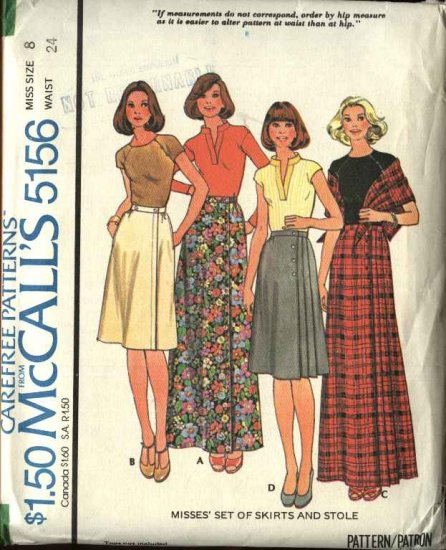 Retro McCall's Sewing Pattern 5156 Misses Size 8 Wrap Pleated Short Long Skirts Stole